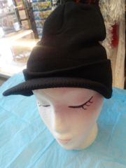 Black Knit Cap with Visor #3521