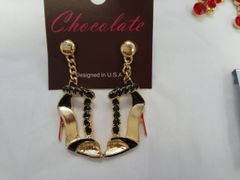 Black with Gold Heel Earrings