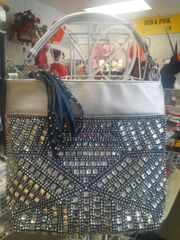 Navy and Rhinestone Purse #5904