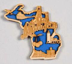 Michigan Blue Wood Magnet #Mblue