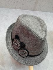 Light Grey Fedora with Bow and Sequin