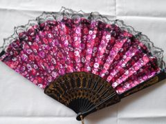 Red and Purple Floral Fan