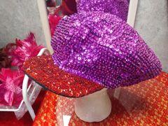 Red/Purple Sequin Newsboy #3631