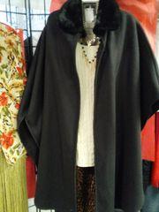 Black Shawl with Faux Fur Collar