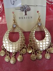Gold Dual Danglers Earrings