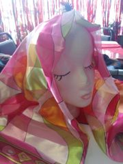 PInk wit Green Scarf #2988 42 x 42