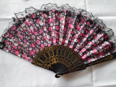 Black and Coral Floral Fan