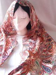 Orange Paisley Design Scarf