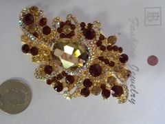 Brown and Gold Brooch Pin #2904