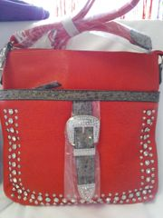 Red Western Buckle Messenger Handbag