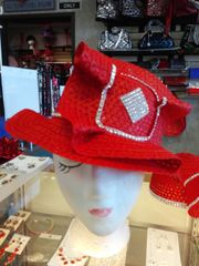 Red Straw Rhinestone Hat #2823