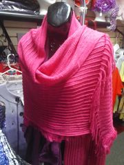 Pink Acrylic Shawl with Fringes