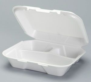 Foam Hinged Small 3 Compartment Snap-It Dinner Container - [SN223] - 200/CS