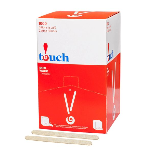 "Touch - 4.5 "" Wooden Coffee Stir Sticks - [80435] - 1000/Box"