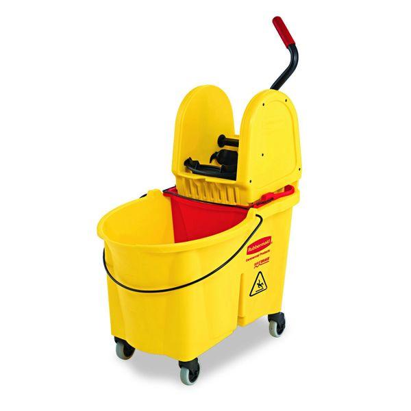 Rubbermaid [7577-88] WaveBrake 35 Qt. Yellow Down-Press Combo Mop Bucket and Wringer Set