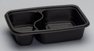 Smart-Set® Pro - [FPR232] - Microwave Containers - 2 Compartment Rectangular container - Black - 300/CS