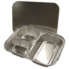 """WP - [5139-L250] - 3 Compartment Oblong Container w/ Board Lid Combo - [6"""" x 8""""] - 250/CS"""