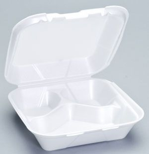 Foam Hinged 3 Compartment Medium Snap-It Dinner Container - [SN243] - 200/CS