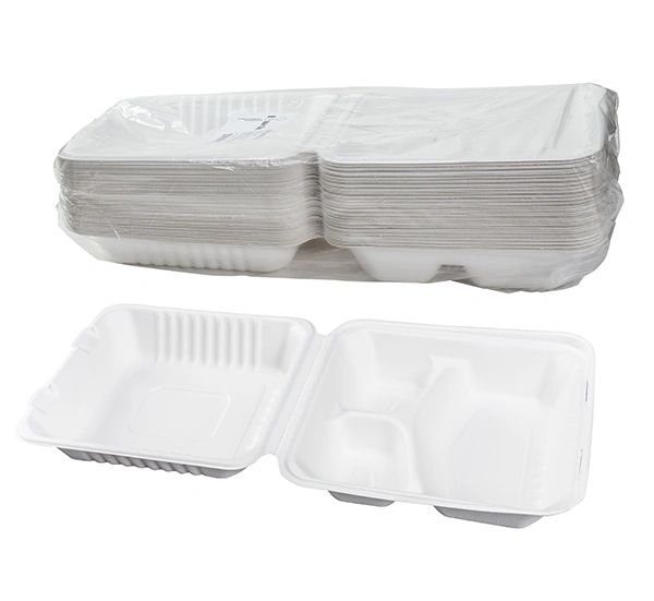 """TOUCH - [12-133] - 8"""" x 8"""" - 3 COMPARTMENT BAGASSE MEAL CONTAINER - 200/CS"""