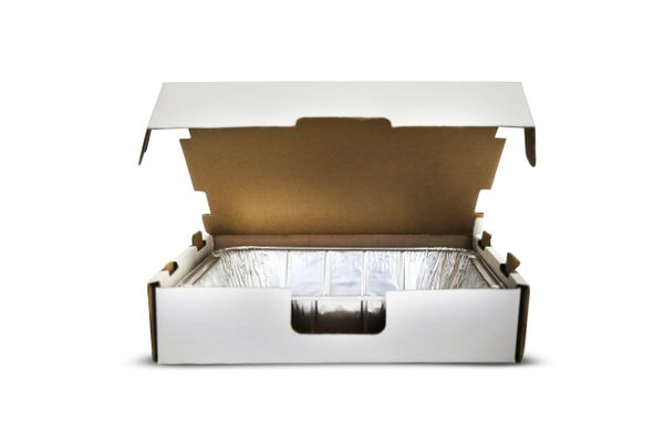 Half Size Catering Boxes - 25/BD - Shrinkwrapped, White.