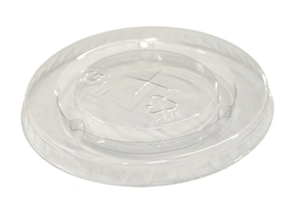 Pactiv - [YLP22C] - Clear Flat Lid w/Straw Slot for YC12/14, YE160 & YC20 Translucent Cups - 1680/CS