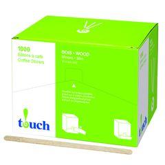 """Touch - 4.5 """" Slim Wooden Coffee Stir Sticks - [80410] - 1000/Box"""