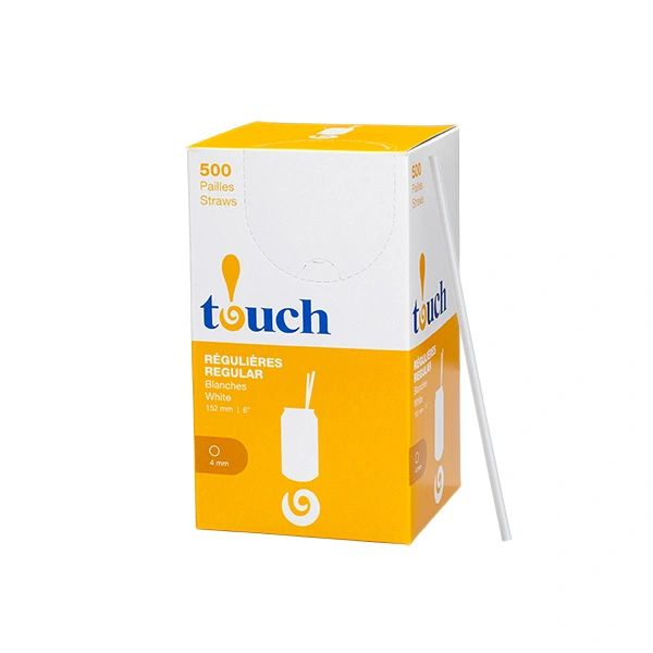 "Touch - 6"" Regular White Unwrapped Straws - [92034] - 500/Box"