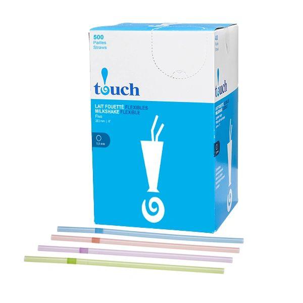 "Touch - 8"" Flue Unwrapped Flexible Milkshake Straws - [92137] - 500/Box"