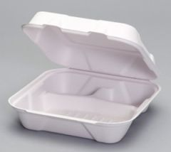 Harvest Fiber - Compostable Large 3 Compartment Hinged Container - 200/CS