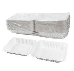 """TOUCH - [12-113] - 8"""" x 8"""" BAGASSE MEAL CONTAINER - 200/CS"""