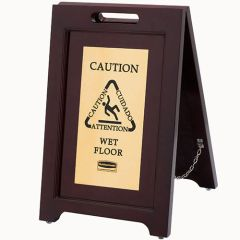 Rubbermaid - 1867507 - Executive Multi-Lingual Wooden Caution Sign - 2-Sided