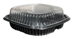 "Microwavable 3 Compartment Container - 9"" x 9"" - Hinged Lid"