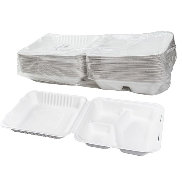 """TOUCH - [12-134] - 9"""" x 9"""" - 3 COMPARTMENT BAGASSE MEAL CONTAINER - 200/CS"""