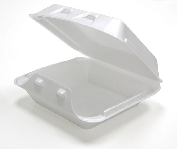 """Pactiv - [HLW0801] - 8"""" x 8.5"""" x 3"""" - Foam Hinged Lid Container"""