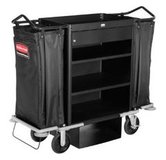 Rubbermaid - 1805988 - Executive Deluxe High Capacity Housekeeping Cart with Locking Drawer - Black