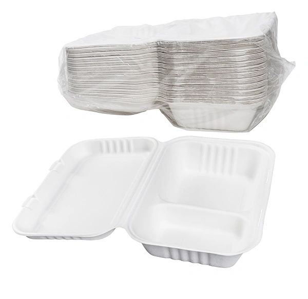 TOUCH - [12-124] - 2 COMPARTMENT BAGASSE MEAL CONTAINER 200/CS