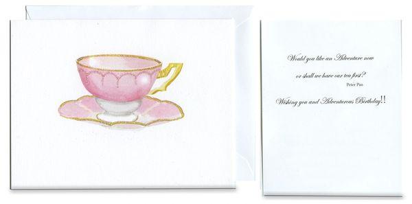 Pink Tea Folded Birthday Card Gnc965 Stevie Streck Designs