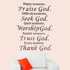 HAPPY MOMENTS PRAISE GOD BEAUTIFUL WALL QUOTE