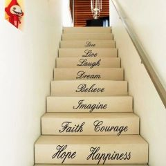 Love Live Laugh Dream Believe Imagine Faith Courage Happiness Hope Removable Wall Decals DIY Wall Stickers Stair Decals