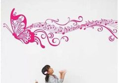 MUSIC NOTE BUTTERFLY WALL DECAL PINK ONLY