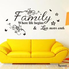 Family Where Life Begins Love Never Ends wall decal