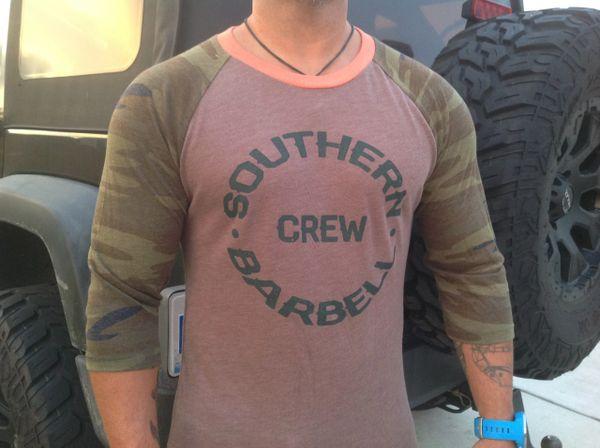 Camo Southern Barbell Crew Baseball Tee