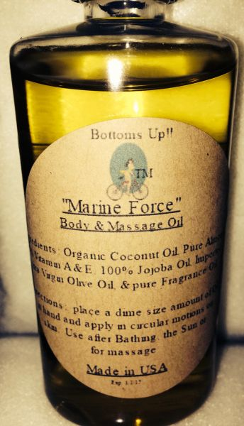"""Marine Force"" Coconut Oil Infused Body & Massage Oil 4oz"