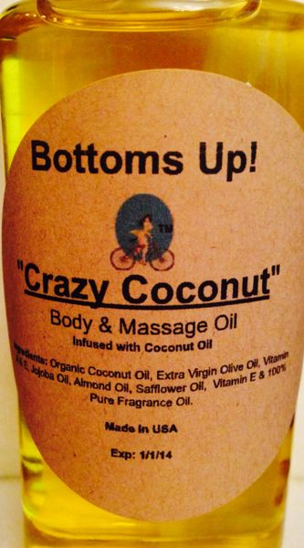 """Crazy Coconut"" Coconut Oil Infused Body & Massage Oil 4 oz"