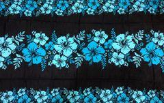 Casual Lavalava Black Base Blue Hibiscus