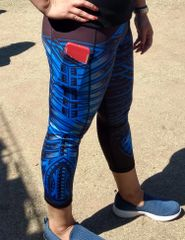 Unisex-Leggings: Black with Blue Polynesian tribal tattoo designs