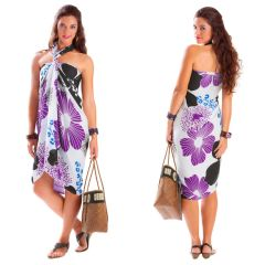 Floral White Base Purple and Black - Fringeless