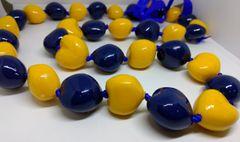 Kukuinut Lei Yellow and Navy Blue