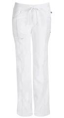 White Low Rise Straight Leg Drawstring Pant - 1123
