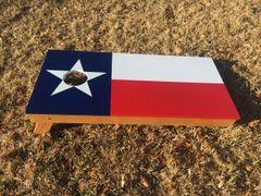 Texas flag cornhole board set